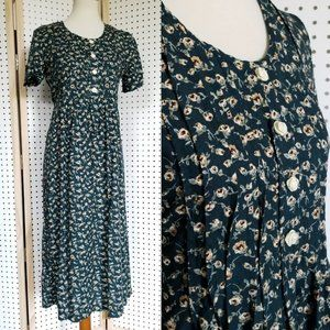 Vintage 90s Floral Maxi Dress Green Tie Back Waist